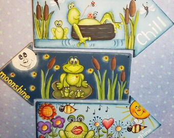 Frog Epattern Summer Art Tole Painting Pattern Frog Collector DIY Frog Ornament Frog Arrow Paint it Yourself Lily Pad Cattails Sun Flowers