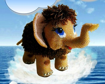 "Pattern / Tutorial Beaded Ornament -Master class to create "" Mammoth is looking for his mother """