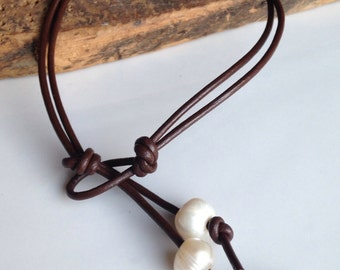 Leather Anklet, Leather and Pearls, Freshwater Pearls, Large Hole Freshwater Pearl Anklet, Beach Anklet