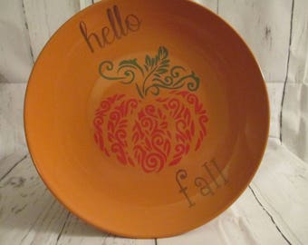 Hello Fall Pumpkin Decorative Plate Home Decor Autumn Harvest Kitchen Jenuine Crafts