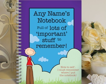 Personalised A5 Notebook Notepad Wirebound Softbacked Important Stuff Notes Themed