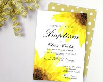 Tournesols baptême invitation baptême invitation personnalisée fille baptême invitation filles carte floral personnalisé d'invitation de baptême