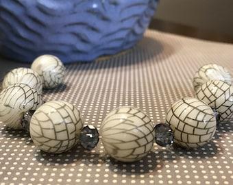 Tan and Blue Crystal Geometric Beads