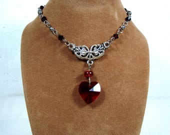 Red Crystal Heart Necklace - Swarovski Elements