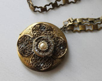 Project Piece, Vintage Locket Necklace, Rhinestone and Pearl Center with Brass Filigree, Extra Large, Old, Jewelry, Craft, Repurpose, Flower