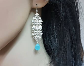 Long filigree earrings sterling silver, Art nouveau earrings, silver and teal earring dangle, Something blue earrings