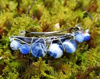 Sodalite Crown Chakra Hair Barrette Clip Pin for Intuition, Cosmic Connection, and Living Your Best Life! Helps with Anxiety and Depression