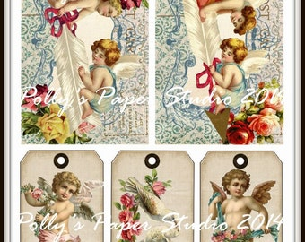 Valentine Post Cards and Tags Digital Images printable download file