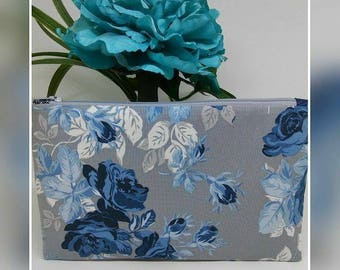 Gray and blue roses Makeup bag, flat zipper pouch, floral cosmetic bag