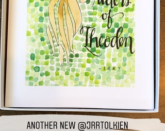 Riders of Theoden JRRT JRR Tolkien LOTR Lord of the Rings Fan Art Fandom handlettered watercolor print Rohan Rohirrim