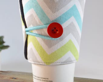 Coffee Sleeve Chevron Tea Cozy for Tapered Cups, Novelty Travel To Go Present, Striped Adjustable Fabric Java Jacket, Drink Carrier Holder