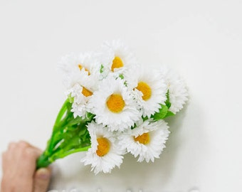 54pc Silk daisies, silk daisy flower stem, spring silk flowers, silk flowers bulk wholesale, fake daisy flowers, silk daisy bouquet