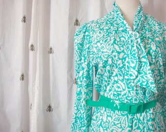 Vintage Green and White Graphic Print Dress, Long Sleeve, Size Large, Extra Large, Plus, Shirtwaist Dress, Buttons, by Blair