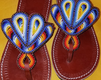 African Beaded Sandals (Kenya - Authentic/Handmade) - Size US 7/UK 37