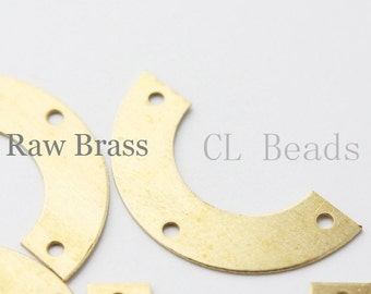 30 Pieces Raw Brass Half Circle - 25x12.7mm (1693C-T-76)