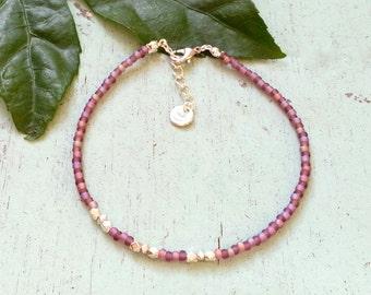 Blossom anklet - Purple seed beaded anklet