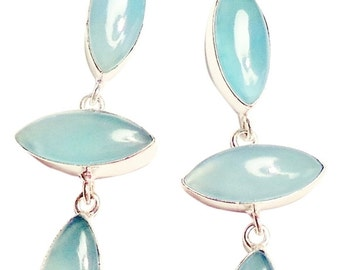 Hand-Made Chalcedony 925 Sterling Silver Long Dangle Earrings