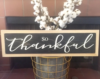 Thankful Sign Wood Sign Black and White