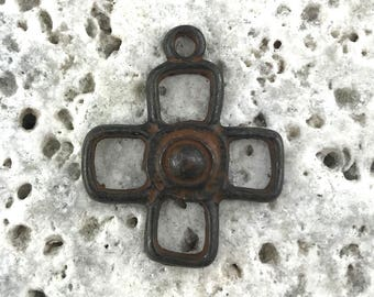 Rustic Cross, Cross Charm, Brown Square Cross Pendant, Religious Jewelry, Christian Jewelry, Jewelry Making, Religious Gift