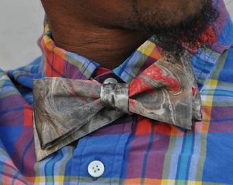 Self Tie Bow Tie Chocolate Brown, Charcoal Black and Bright Red!! Made in Asheville NC MM-#15-23a