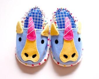 Elastic Baby Booties, Unicorn Baby Shoes, Unicorn Baby Booties, Fabric Baby Shoes, Prewalker Booties, Newborn Infant Booties, Unicorn 02