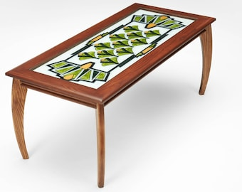 Art Deco Ginkgo Glass Top Brown Coffee Table