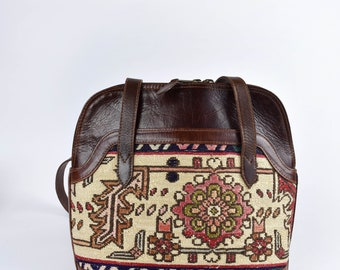 Leather and Kilim Purse with Multiple Pockets