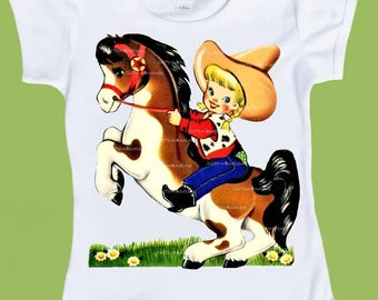 Cowgirl on Horse, western cowgirl, pony shirt, girls clothing, graphic T-Shirt, one piece, bodysuit, vintage childrens, ChiTownBoutique.etsy