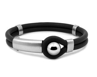 Black Rubber and Stainless Steel Mens Bracelet Modern Designs