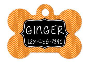 Personalized Pet ID Tag - Personalized Pet Tag - Custom Pet ID Tag - Chevron Dog Name Tag - Dog ID Tag - Dog Collar Name Tag - Orange Black