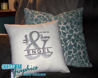 Wedding pillow - CUSTOM embroidered pillow - wedding gift - Christmas gift - wedding keepsake - bridal shower gift