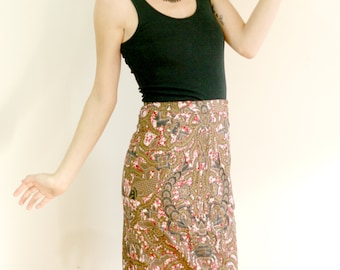 Abstract Print Midi Length Pencil Skirt - Vintage 80s, Women's Size 4 - Centipede Dragon Abstract Red, White, Black, & Gold Print Cotton
