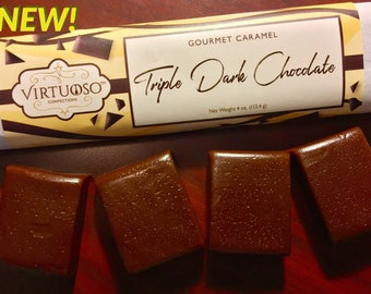 Triple Dark Chocolate: Gourmet Caramel Bar - 4oz (113g) | Chocolate Caramel