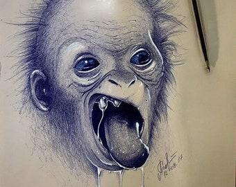 Monster-print-pen painting, pen, exclusive, A4, sketch, monkey