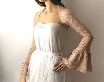 Wedding Shrug, Bridal Shrug, Gold Shrug, Bridal Bolero, Flare Sleeve Bridal Cover Up