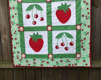 Strawberries and Cherries  Quilted Wall Hanging