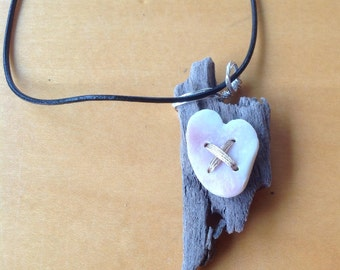 Natural Driftwood and Beach Shell Necklace Handmade