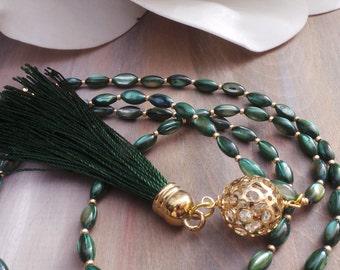 Long beaded tassel necklace. Long beaded necklace. Green tassel necklace. Shell rice beaded necklace. Bohemian necklace.