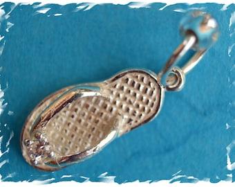 Flipflop stitch marker / sterling silver / knitting marker / ring marker / round marker / pendant / knitting jewelry