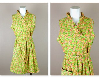 Vintage 1950s / 1960s Cotton Summer Wrap Dress or Beach Cover Up, Size Large, Geometric Orange Green Pink, Radlee Label