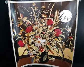 1975 Litho Reproduction Laminated Print by  Austrian Artist Georg Rauch (1924-2006), titled Moon Floral.