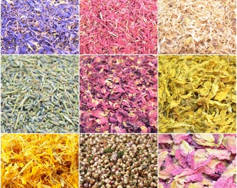 Dried Flowers and Petals, 36 + Types, Bath Bomb Making, Confetti, Soap, Soy Candle, Potpourri, Biodegradable, Flower Crafts, Supplies