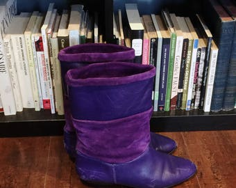 Purple Rain Leather & Suede Boots; Women's Vintage 80's Suede and Leather Vibrant Purple Slouch Boots Size 8 Made in Brazil