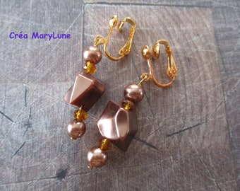 Clip earrings for non pierced Maroon and gold
