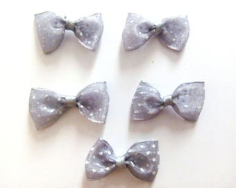 Gray with white dots fabric bows
