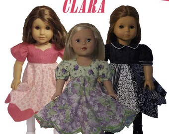 Pixie Faire Sharp Dressed Dolls Clara Dress Doll Clothes Pattern for 18 inch American Girl Dolls - PDF