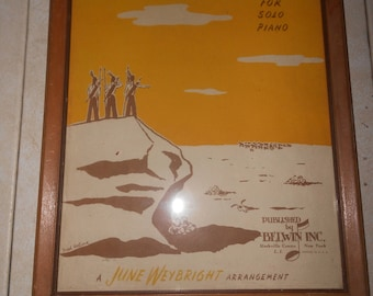 """Framed Sheet Music Pictures, Indian Hunters of the Plains Picture -13"""" x 10"""""""
