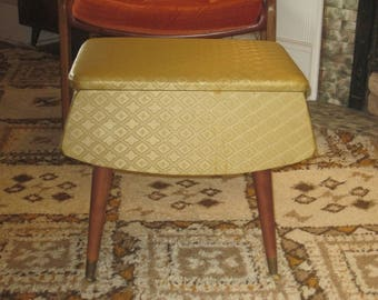 Large Vintage Vinyl Covered Footstool with Storage Compartment
