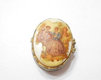 Vintage Rococo Cameo Pill Box (5374)