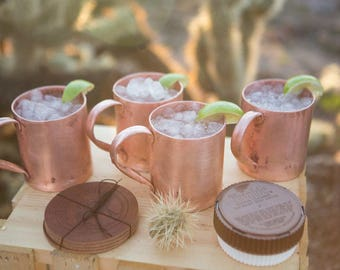 Moscow Mule Mug Set, American Mule Pack 4 for 4 (14oz Heavy-Duty American Copper Mug Set+Extras) Copper Cleaner & Leather Coasters Included.